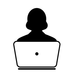 User icon with laptop computer female person vector