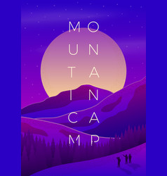 violet summer mountain camping poster vector image