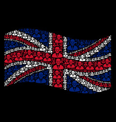 waving uk flag mosaic of masked thief icons vector image