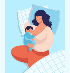 woman breastfeeding a bawhile lying in bed vector image