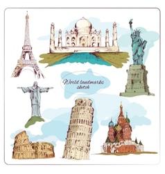 world landmark sketch colored vector image