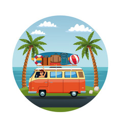 young man driving surf van to the beach vector image