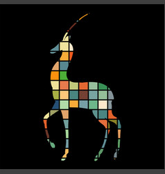 antelope mammal color silhouette animal vector image