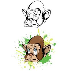 cartoon head monkey vector image vector image