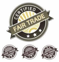 certified fair trade label vector image vector image