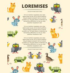 children info banner with cute cartoon animals vector image vector image