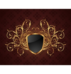 golden ornate frame with shield - vector image vector image