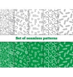 Set of seamless patterns Back to school vector image vector image