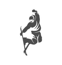 Ski logo design template elements vector