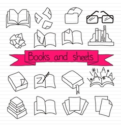 Books scetches icon set vector image