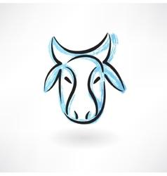 cows head grunge icon vector image