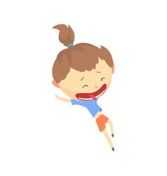 happy cartoon girl running kids outdoor activity vector image vector image