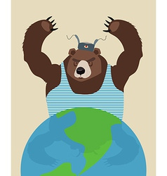 Russian bear threatens peace The globe Traditional vector image vector image