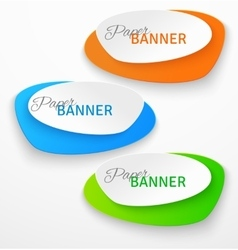Set of oval colorful paper origami banners vector image vector image