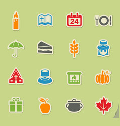 thanksgiving day icon set vector image