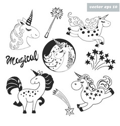 unicorn set vector image vector image