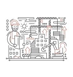 Construction site - line design composition vector