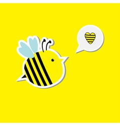 Cute cartoon bee and speech bubble with heart Card vector image