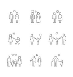 family thin line icons set vector image