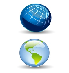Glossy Earth Icon vector image vector image