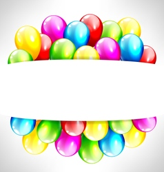 Multicolored inflatable balloons with frame on vector image vector image