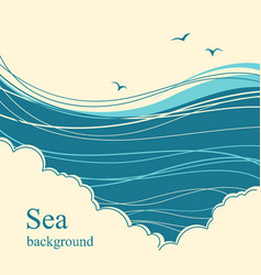 sea wavesseascape horizon for text vector image