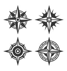 Wind Rose Retro Style Set vector image