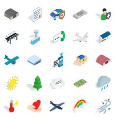 airborne icons set isometric style vector image