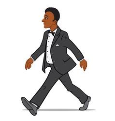 Black Man in a Tuxedo Walking vector image