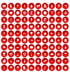 100 garden icons set red vector