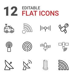 12 satellite icons vector image