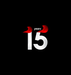 15 years anniversary celebration white and red vector