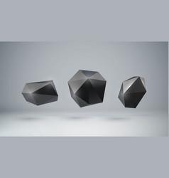 3d black polygonal shapes vector image