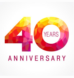 40 anniversary red logo vector image