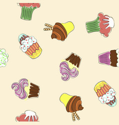 abstract seamless pattern with colorful cupcakes vector image