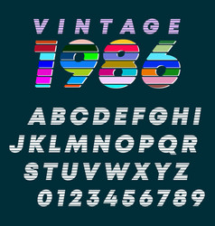 alphabet letters and numbers vintage design slot vector image