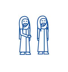 arabic businessman line icon concept arabic vector image