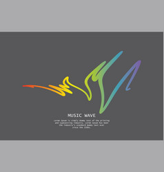 Audio colorful wave logo on grey pulse music vector