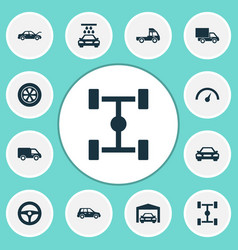 Automobile icons set collection of truck drive vector