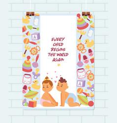 baby shower cartoon kids newborn character vector image