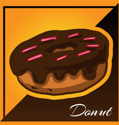 Bakery two tone background with donut vector
