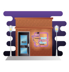 bar tropical music building facade with neon label vector image