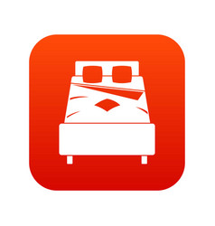Bed icon digital red vector