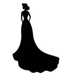black silhouette young girl in wedding dress vector image