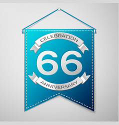 Blue pennant with inscription sixty six years vector