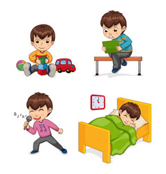 Boy musician and hobby set vector