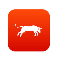 bull icon digital red vector image