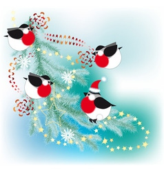 Bullfinch decorate a christmas tree with garlands vector
