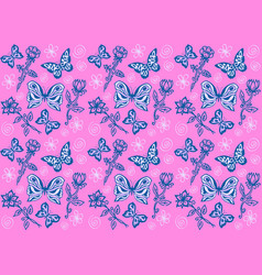 Butterflies and flowers vector