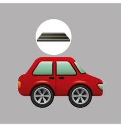 car sedan red on road design vector image vector image